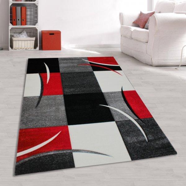 Dianna Teppich Hochwertig Design Modern Karo Muster Rechteck Grau Rot