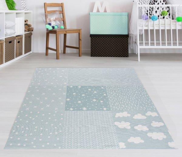 Kinderteppich Happy Rugs PATCHWORK mint, waschbar