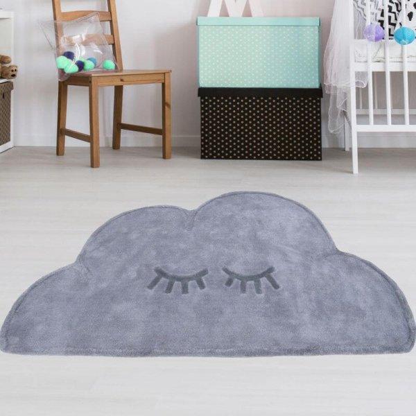 Wolkenteppich Grau aus Baumwolle Waschbar