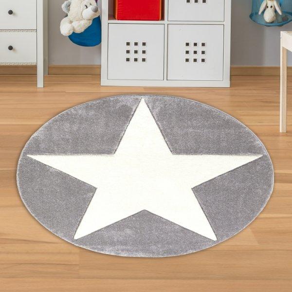 Runder Kinderteppich mit Stern Grau Weiß