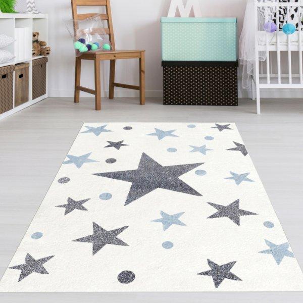 Sterne Teppich Weiß Grau Blau