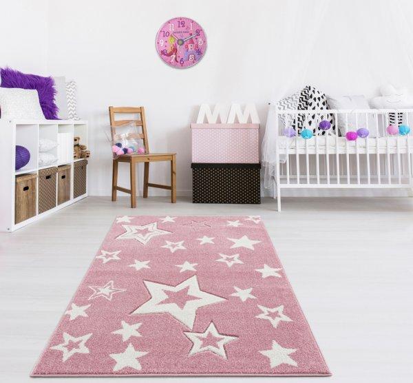 Kinderteppich Sternenhimmel Rosa Weiß
