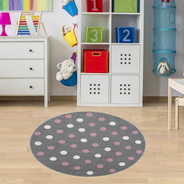 Teppich für Kinderzimmer Silber Rosa