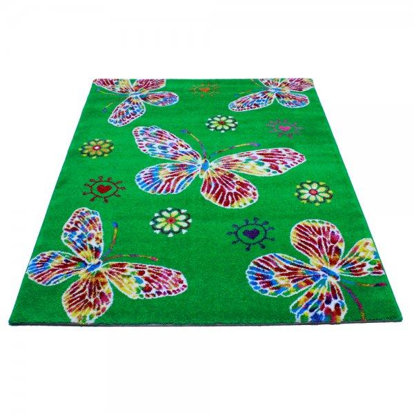 Kinderzimmer Teppich Schmetterling Grün 120 x 170 cm
