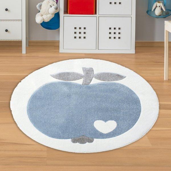 Jungen Teppich Äpfel Blau Weiß