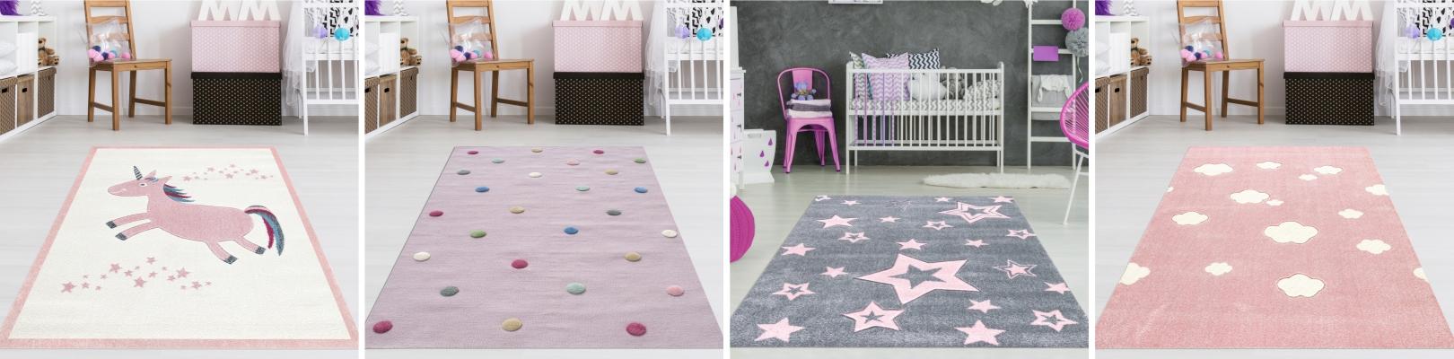 Teppich4Kids - Rosa, Einhorn, Sterne, Punkte, Wolken