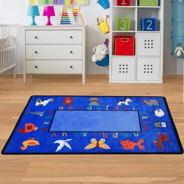 Spielteppich ABC & Tiere Blau