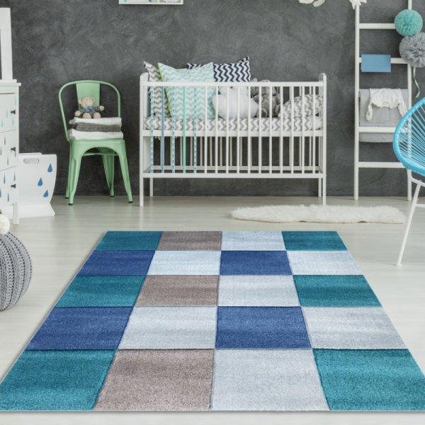 Kinderteppich Karo Blau Türkis