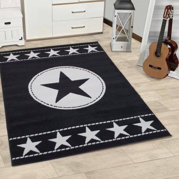 Kinderteppich Sterne Schwarz Weiß
