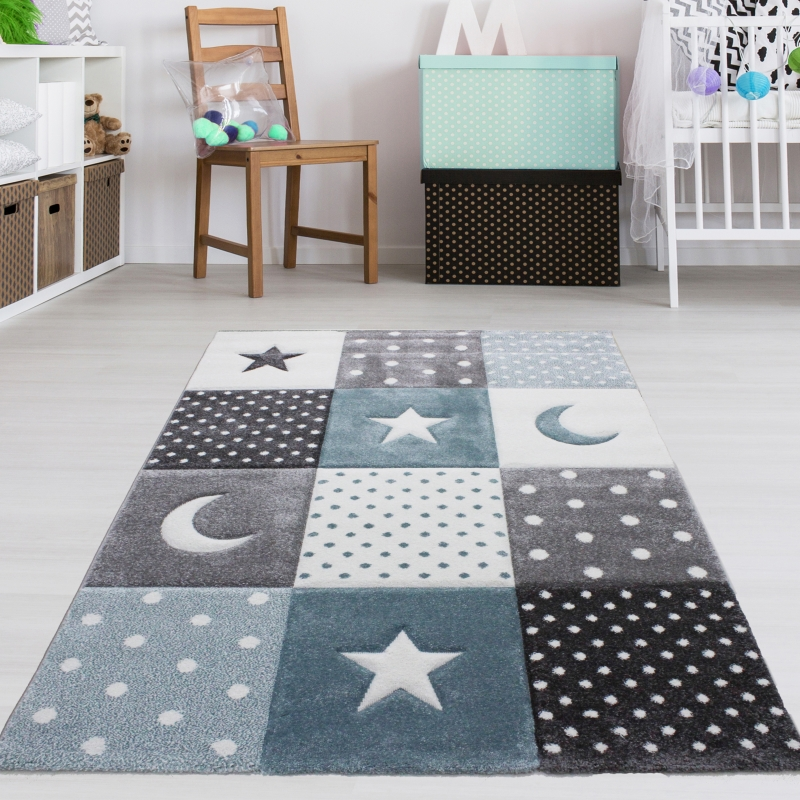 Mond Sterne Kleid: Kinderteppich Mond & Sterne Blau Grau Pastell