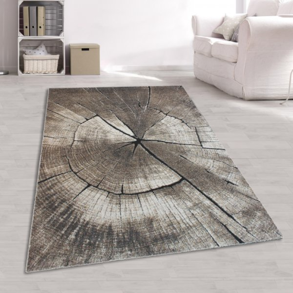 Teppich Baumstamm Optik Grau