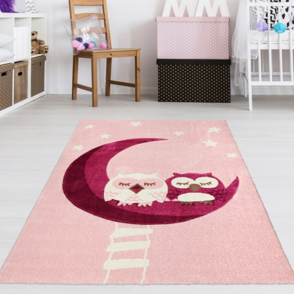 Kinderteppich Schlafende Eulen Rosa