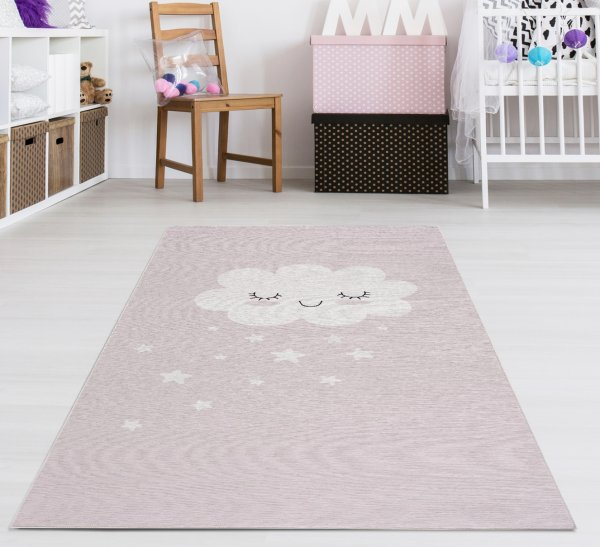 Kinderteppich Happy Rugs CLOUD rosa, waschbar, 90x160cm