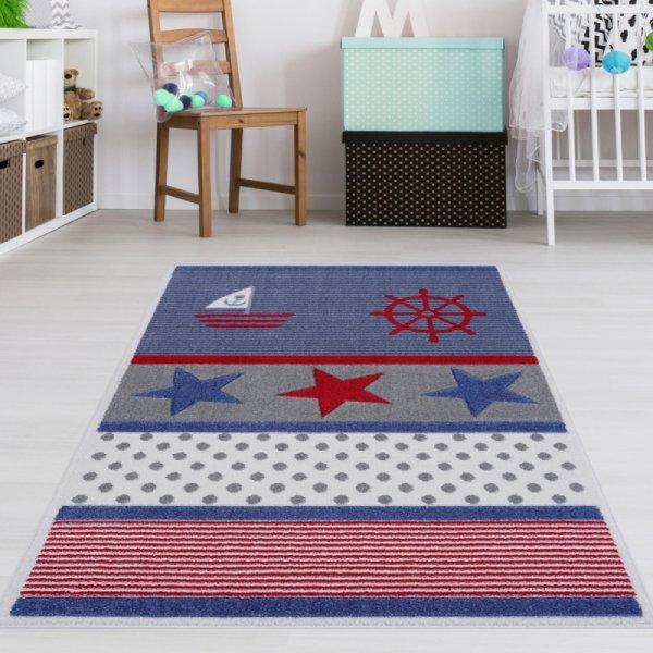 Kinderzimmer Teppich Maritim Blau Rot