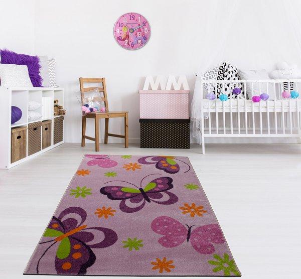 Kinderteppich 160 x 230 cm Schmetterling Lila Bunt