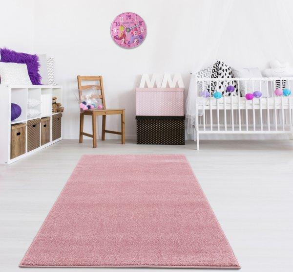 Kinderteppich Unifarben Rosa Velour