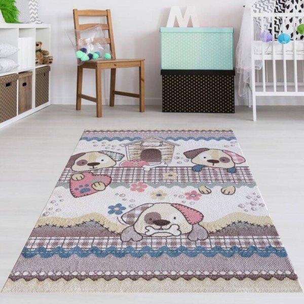 Kinderteppich Hunde Pastell Farben
