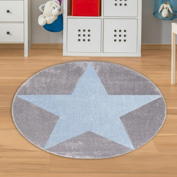 Runder Jungen Teppich mit Stern Grau Blau