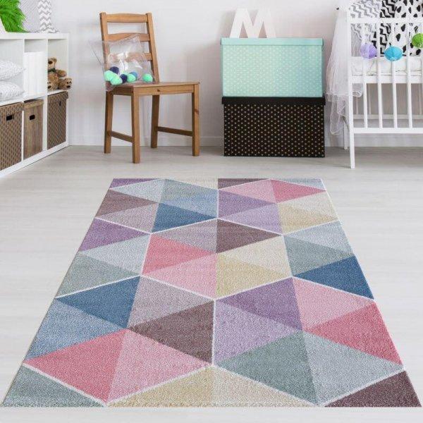 Kinderteppich Dreieck Muster Pastell