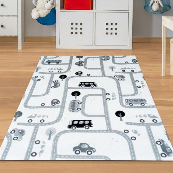 Straßenteppich Waschbar Weiß Grau