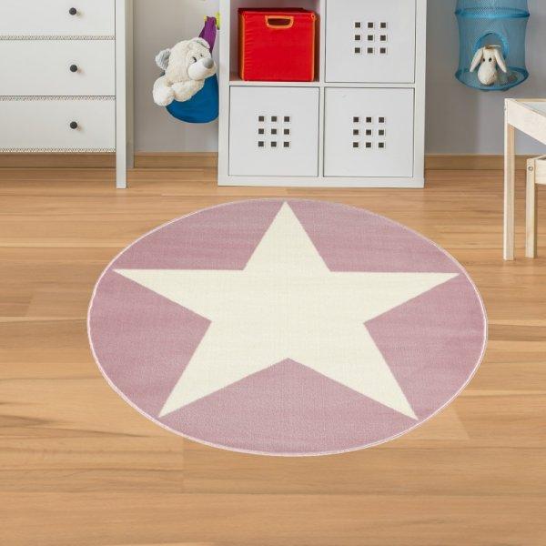 Kinderteppich Stern Rosa Weiß Velour Rund