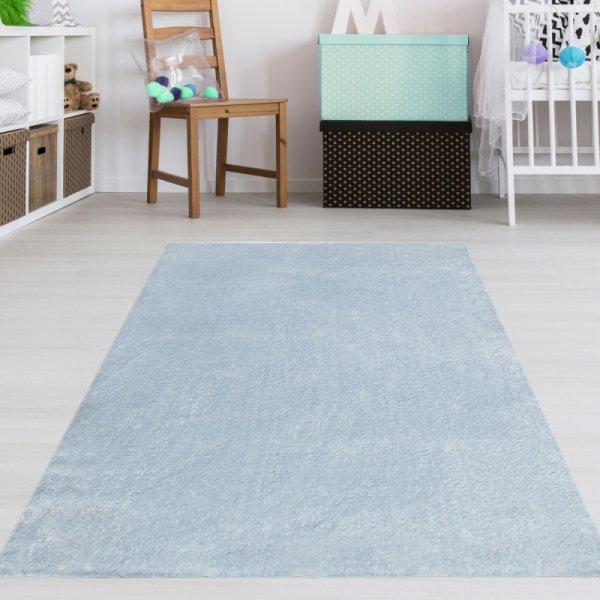 Teppich für Jungenzimmer Uni Blau