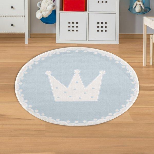 Kinderteppich Krönchen Rund Blau Weiß