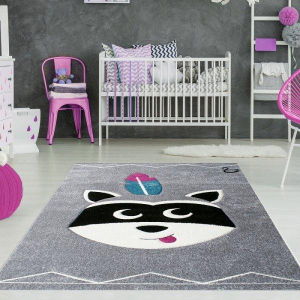 Kinderteppich Indianer Waschbär Grau