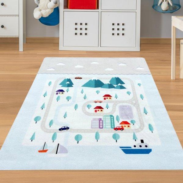 Spielteppich Straße & Wasser waschbar
