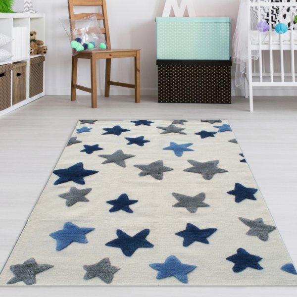 Kinderzimmer Teppich Jungen Blaue Sterne