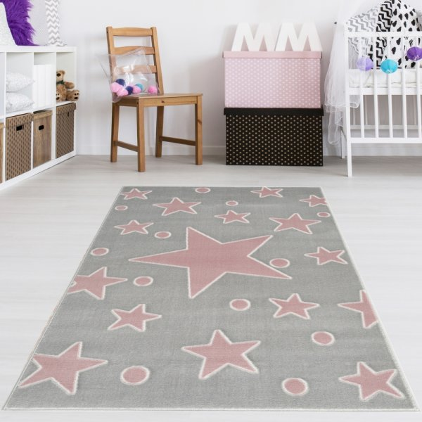 Kinderteppich Grau Rot Sternenhimmel Punkte