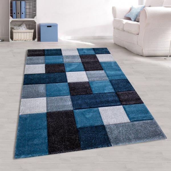 Jugendzimmer Teppich Modern Blau Grau Kariert