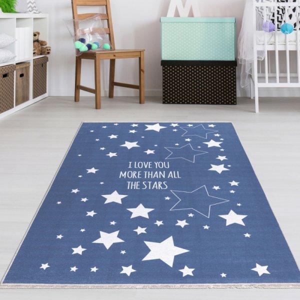 Jungen Baby Teppich Blau mit Sternen Waschbar