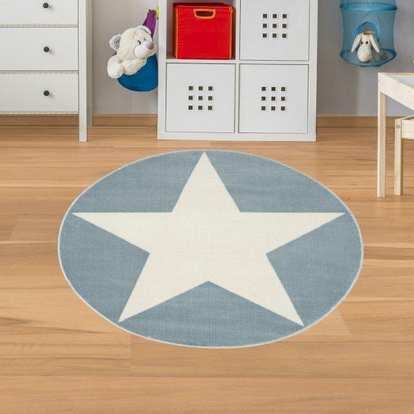 Kinderteppich Stern Blau Weiß Velour Rund
