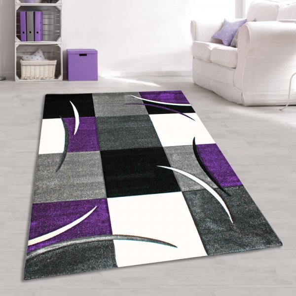 jugendzimmer teppich lila schwarz wei grau kariert. Black Bedroom Furniture Sets. Home Design Ideas