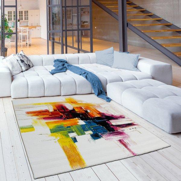Designer Kurzflor Teppich Aquarell Bunt