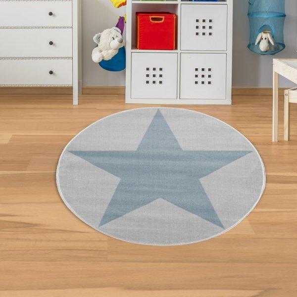 Kinderteppich Stern Grau Mint Velour Rund