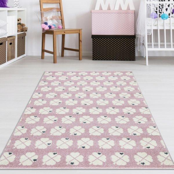 Kinder Teppich Kleeblatt Rosa Weiß