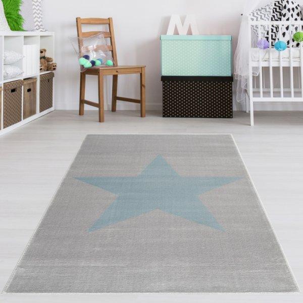 Kinderteppich Stern Grau Blau Velour