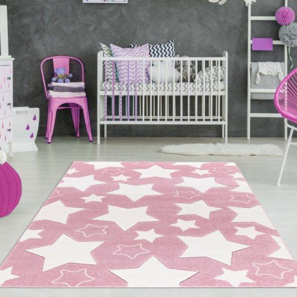 Mädchen Teppich Sterne Rosa Weiß
