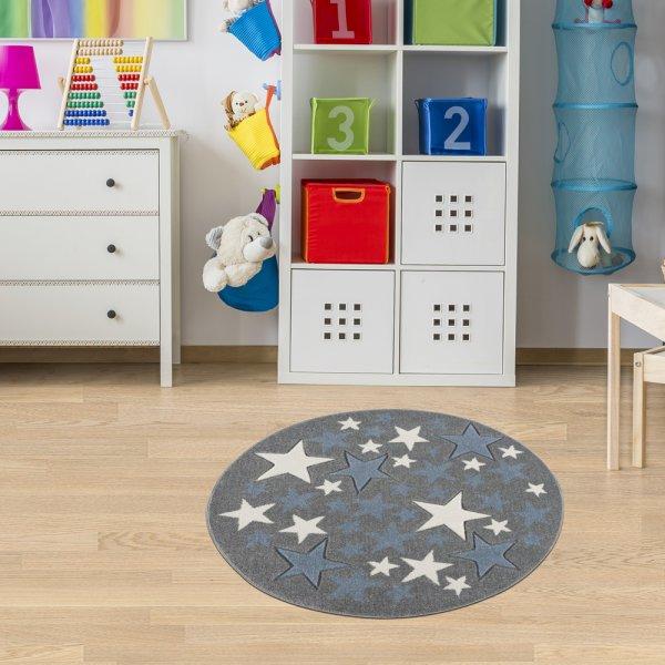 Kinderteppich Sterne Rund Blau Grau Weiß