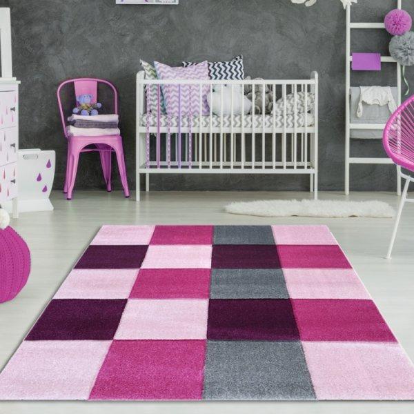Mädchen Teppich Karo Pink Rosa