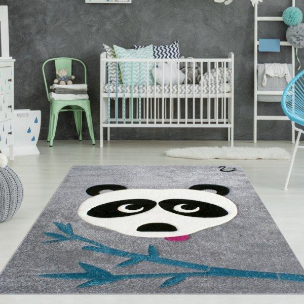 Kinderteppich Panda Grau