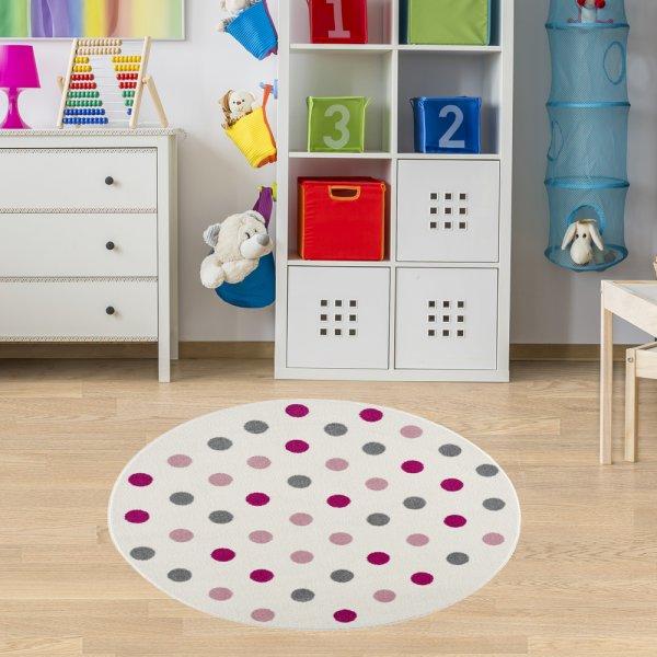 Teppich für Kinderzimmer Creme Rosa