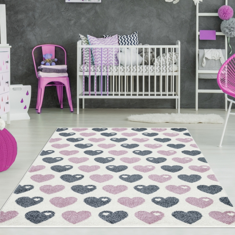 Kinderzimmer Teppich Herzen Rosa Grau