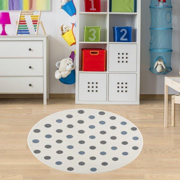 Teppich für Kinderzimmer Creme Blau