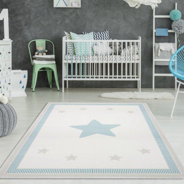 Kinderteppich glücklicher Stern Creme Pastell Mint