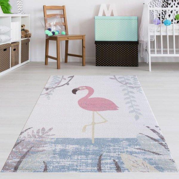Kinderzimmer Teppich Flamingo Weiß Rosa Pastell