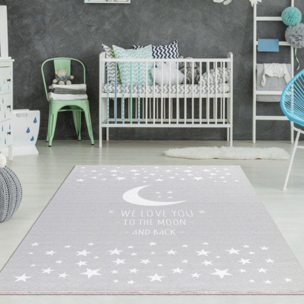 Kinderzimmer Teppich Mond & Sterne Grau
