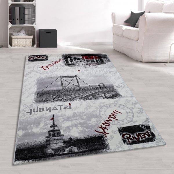 Teppich Istanbul Design Grau Weiß Rot